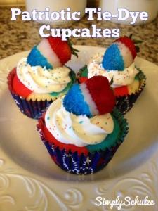 Patriotic Tie-Dye Cupcakes