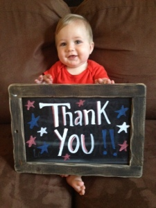 Squishy baby says thank you to our troops!
