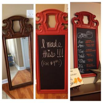 Chalkboard transformation :) Be sure to check out the post on how to DIY this one, it's super easy and can be done using any old mirror or frame!