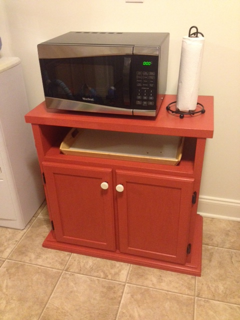 Microwave Stand Re Do Using Homemade Chalk Paint