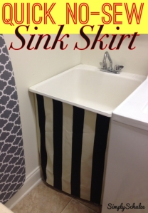 Quick No-Sew Sink Skirt