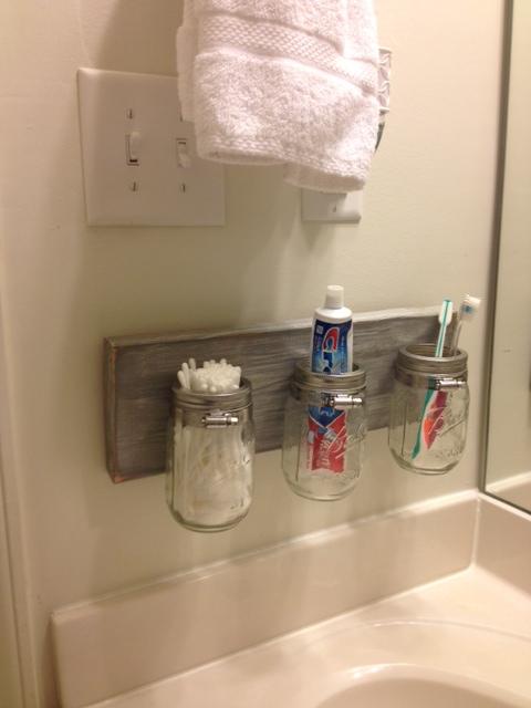 diy mason jar bathroom organizer | simplyschulze