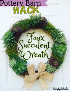 Pottery Barn Hack - DIY Faux Succulent Wreath