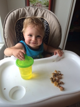 Baby P enjoying some meatloaf for lunch! Did I mention it makes great leftovers? :)