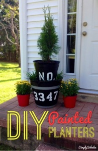 DIY Painted Plastic Planters