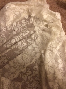 my lace was actually cut from a pair of curtains that I found at a thrift store for $0.50!