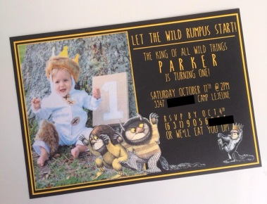 "Baby P's ""Where the Wild Things Are"" 1st Birthday party invite."